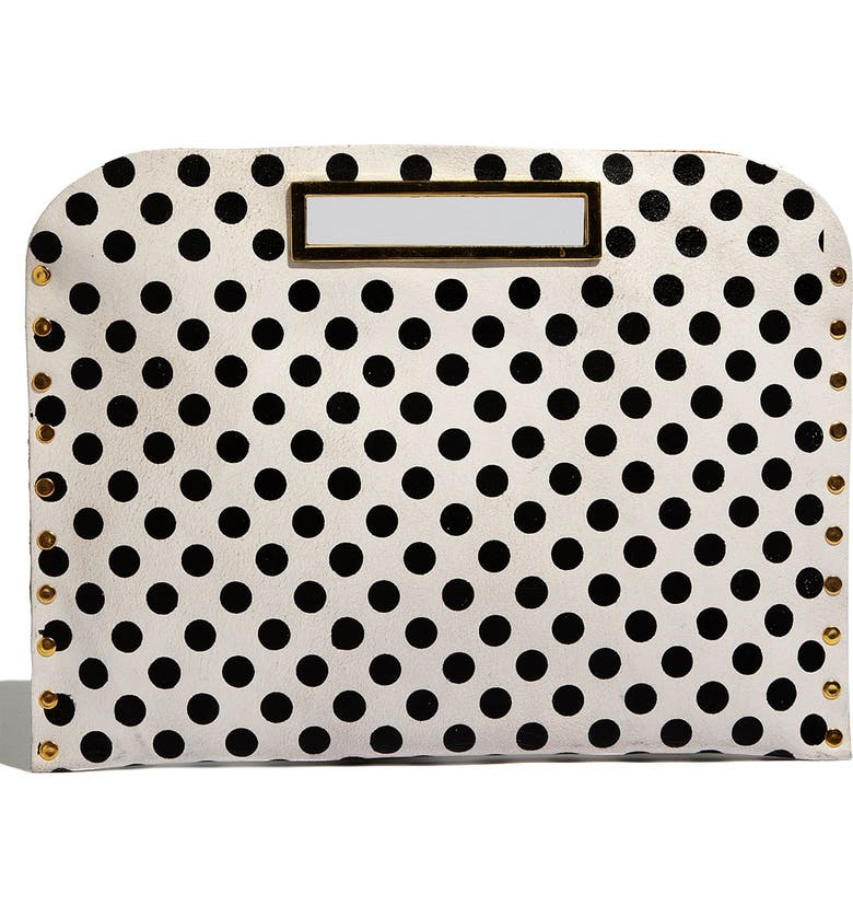 MUZE Oversized Polka Dot Clutch, Main, color, 101