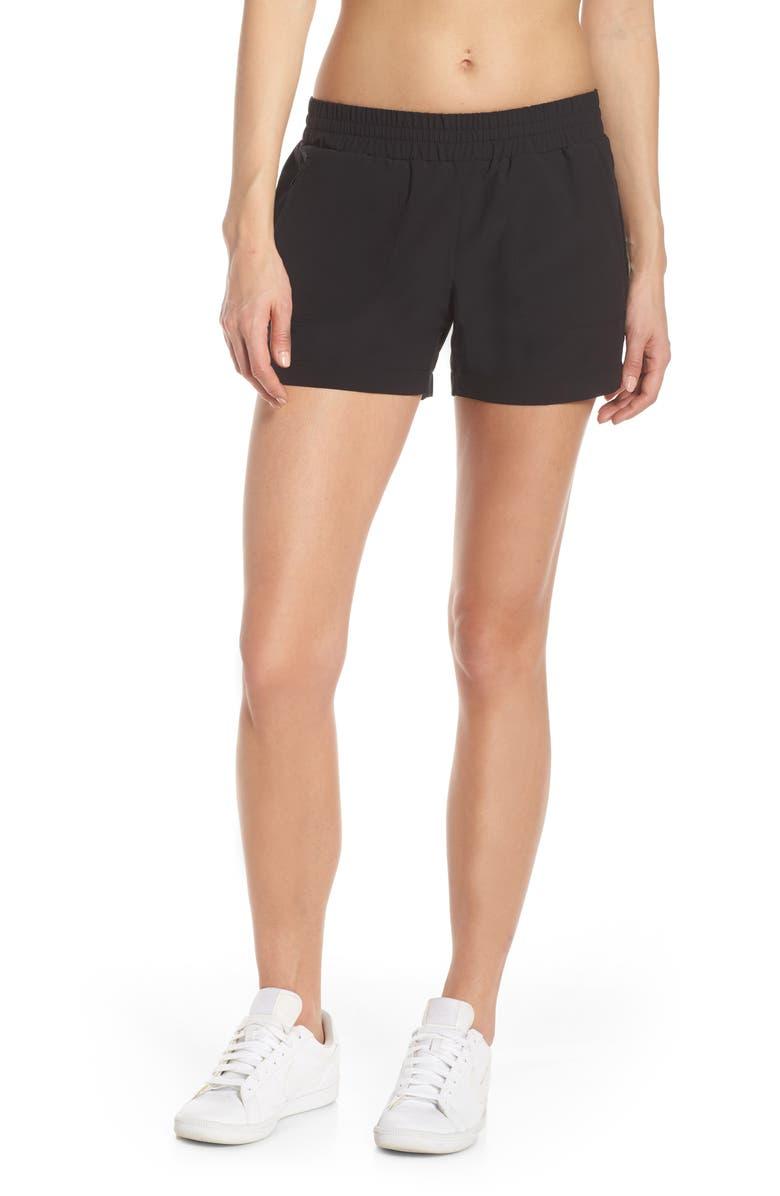 ZELLA Community Canyon Shorts, Main, color, BLACK