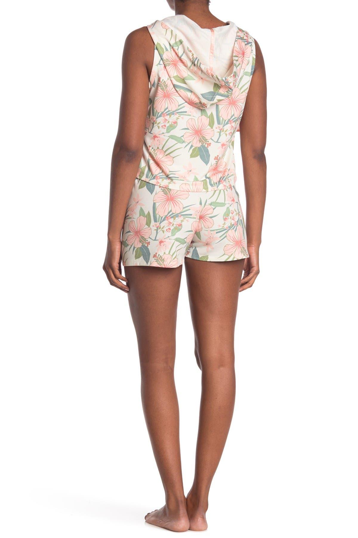 Image of COZY ROZY Vacay Vibes Floral Sleeveless Hoodie & Shorts 2-Piece Pajama Set