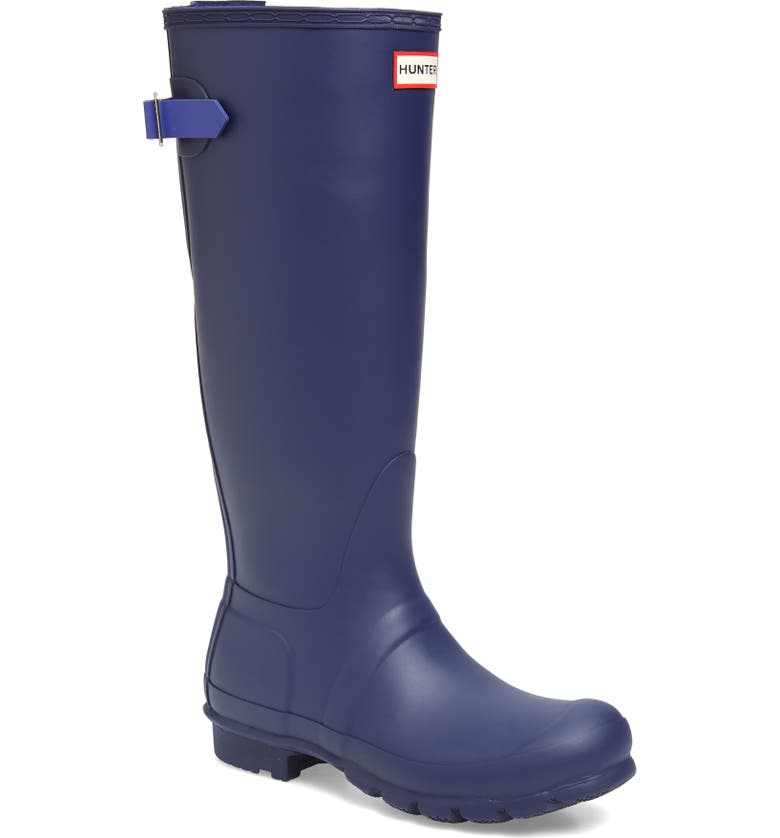 HUNTER Original Tall Adjustable Back Waterproof Rain Boot, Main, color, MELODY/ ELECTRIC STORM
