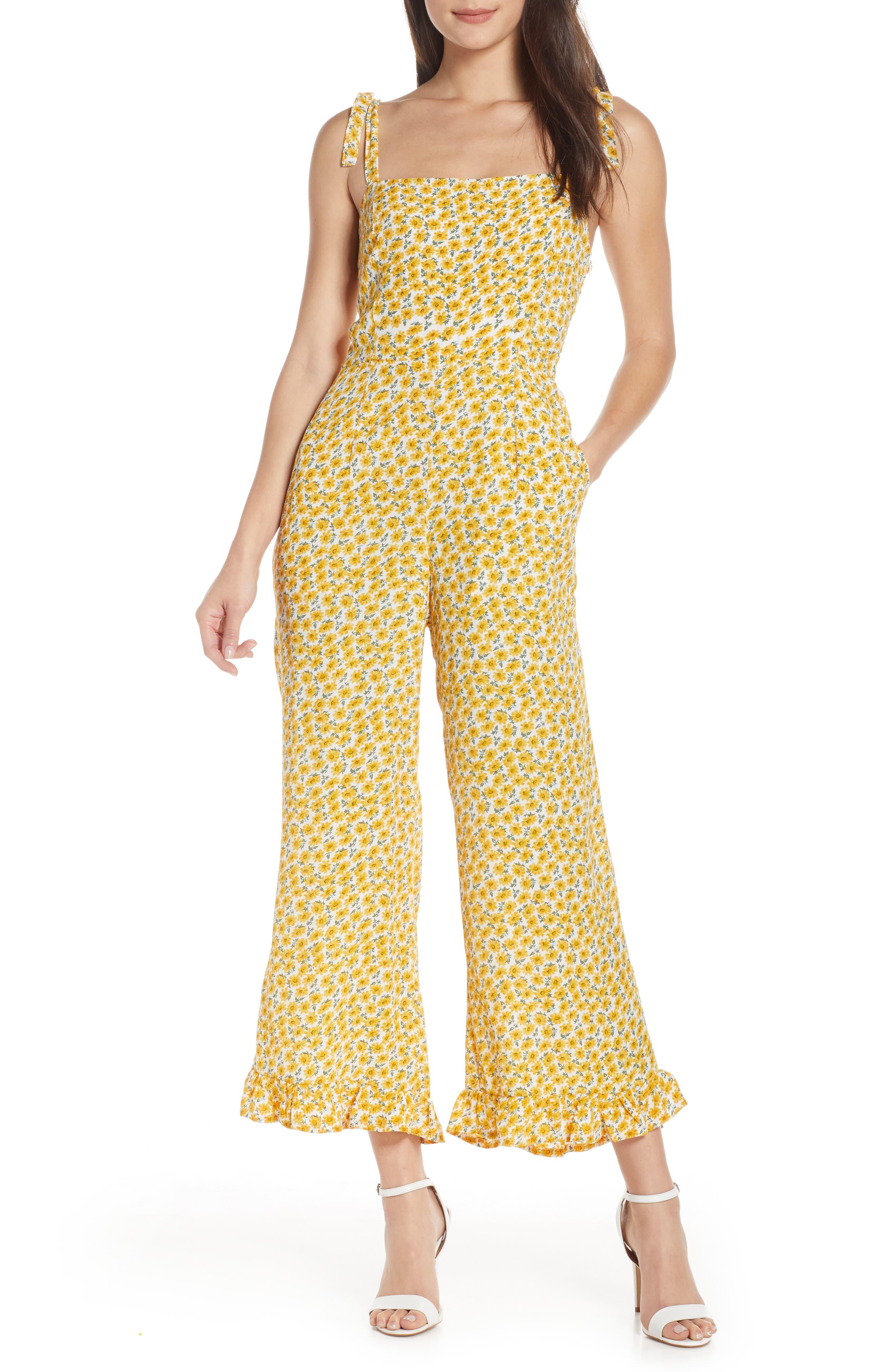 Faithfull The Brand Frankie Floral Frill Hem Wide Leg Jumpsuit, Yellow
