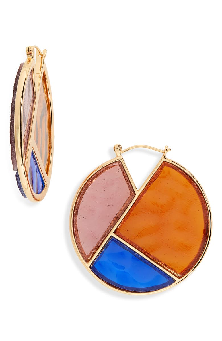 LIZZIE FORTUNATO Glass Mosaic Hoop Earrings, Main, color, GOLD/ MULTI