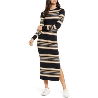 French Connection Sweet Stripe Long Sleeve Sweater Dress, Black