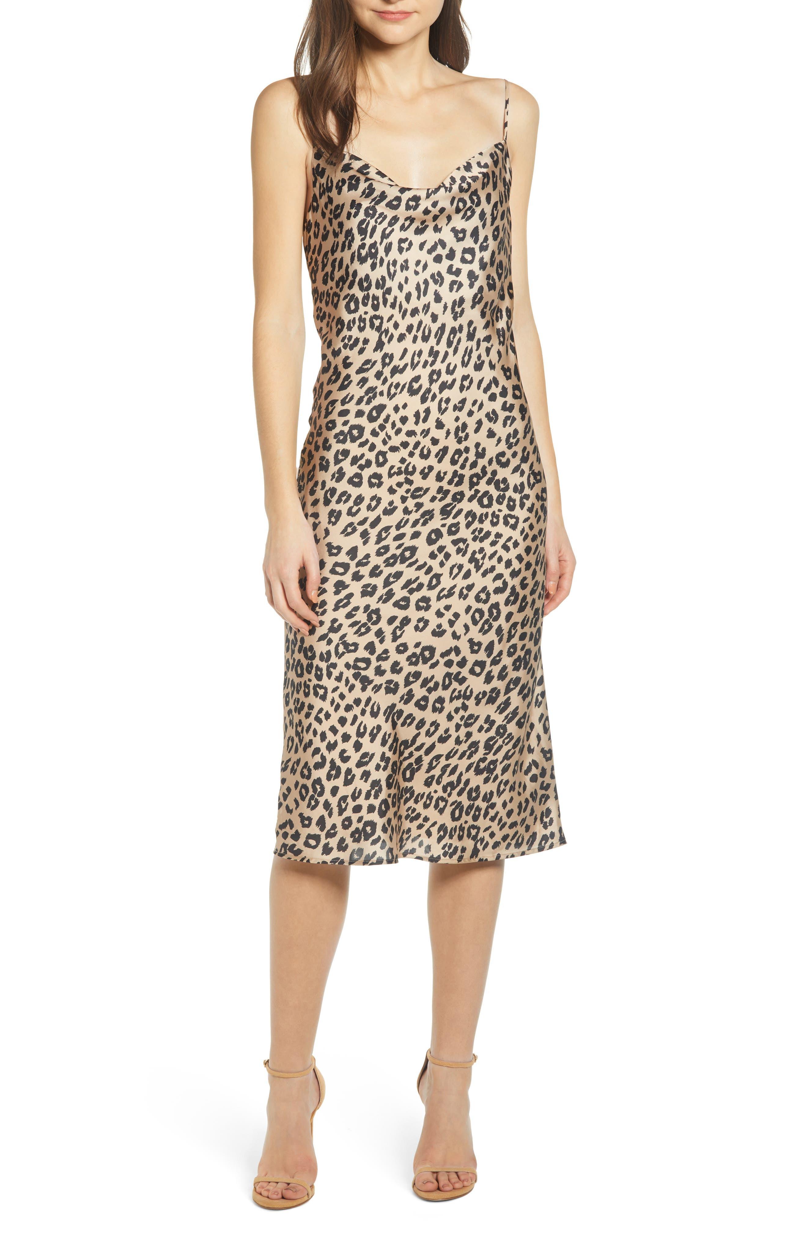 Bardot Leopard Cocktail Slipdress, Beige