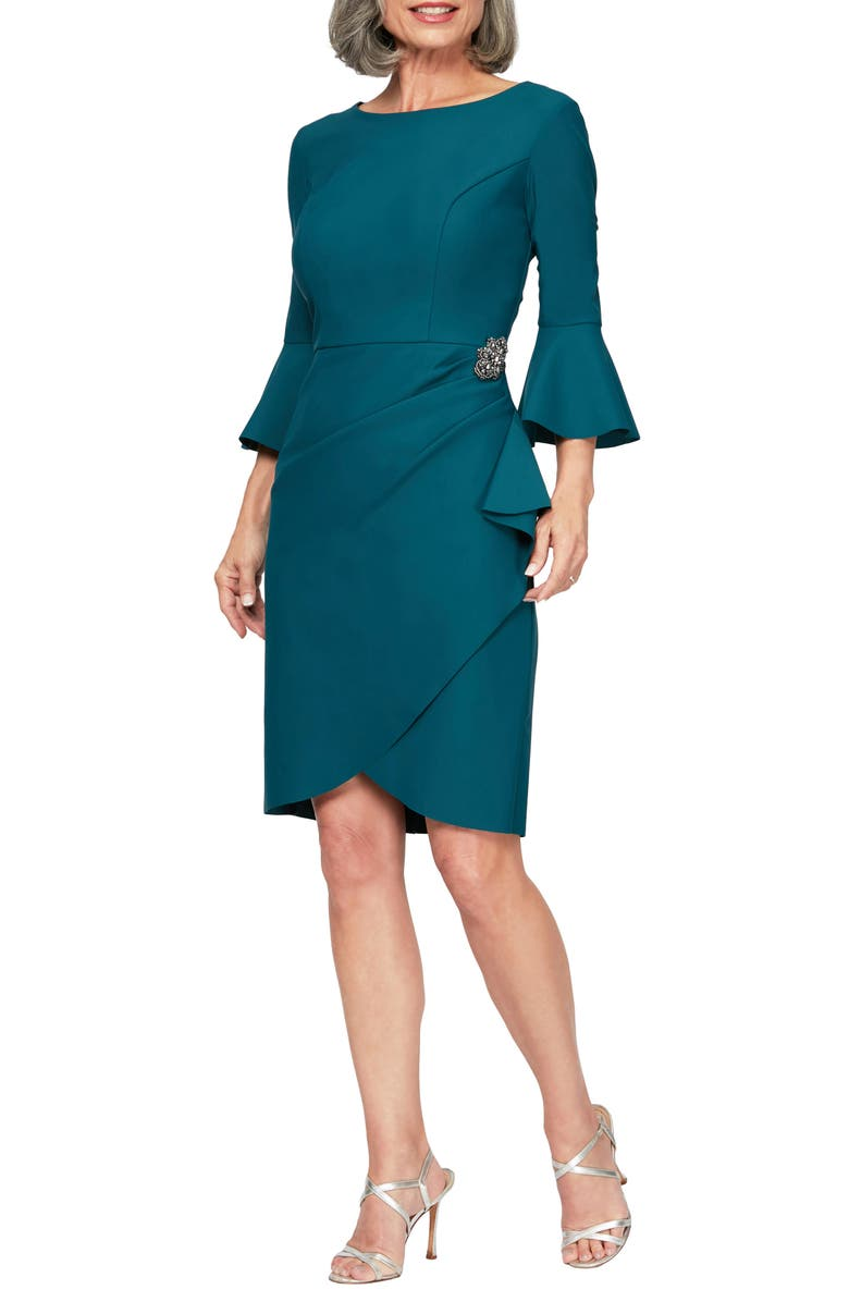 ALEX EVENINGS Bell Sleeve Sheath Dress, Main, color, DEEP TEAL