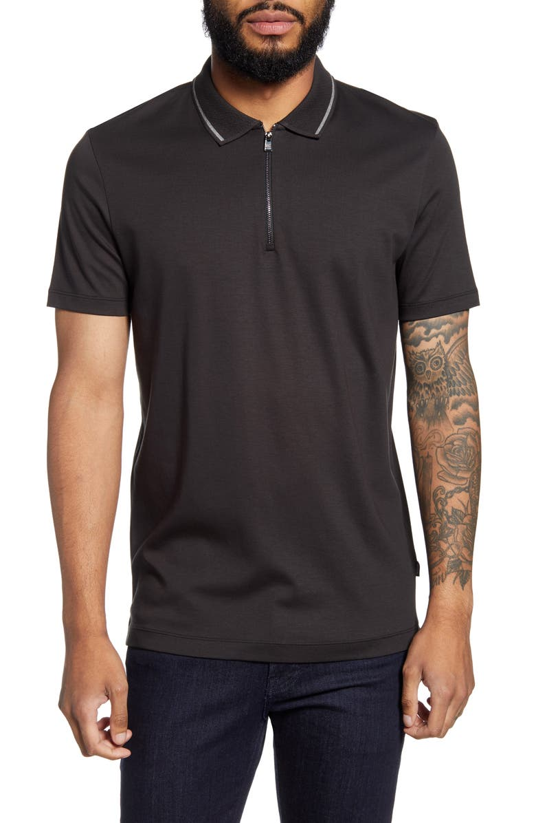 BOSS Paras Regular Fit Tipped Short Sleeve Zip Polo, Main, color, BLACK