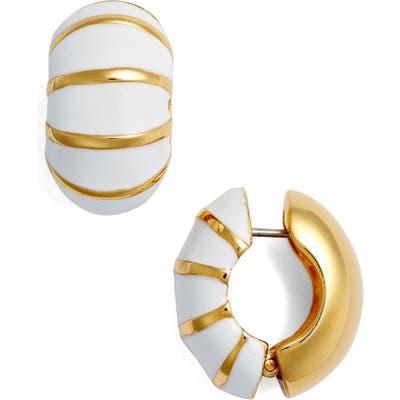 Erwin Pearl Goldtone & White Reversible Earrings