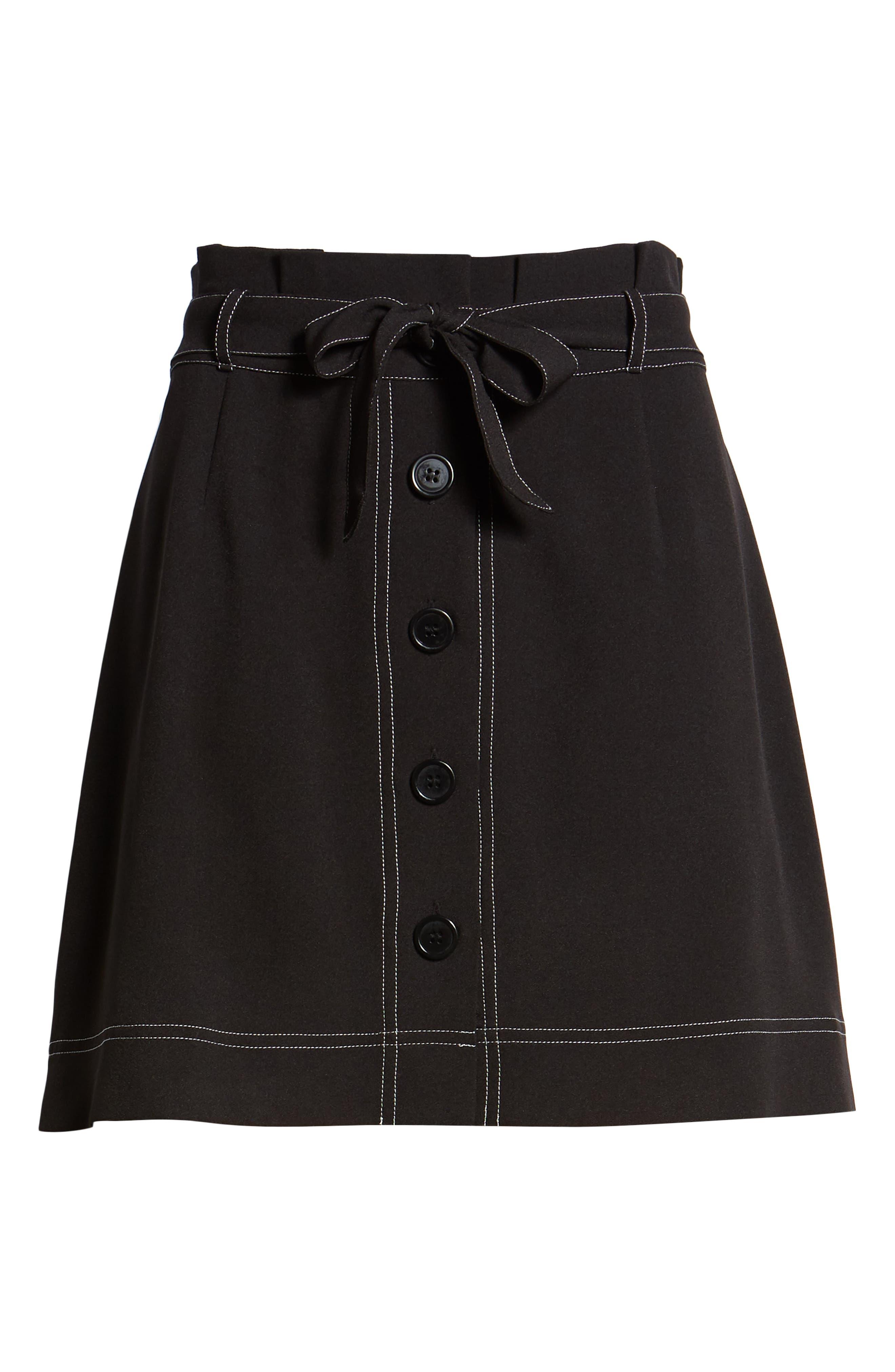 ,                             Button Front Skirt,                             Alternate thumbnail 6, color,                             BLACK