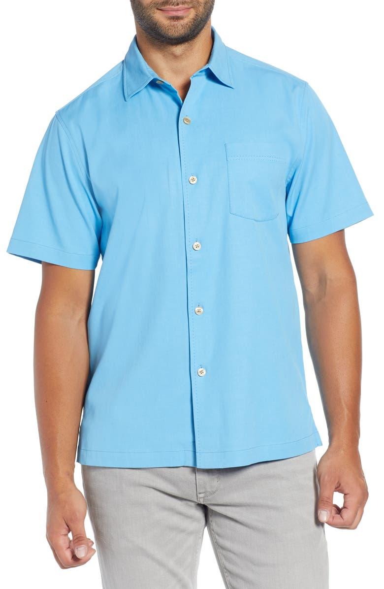 TOMMY BAHAMA Catalina Silk Blend Shirt, Main, color, BEACH HUT BLUE