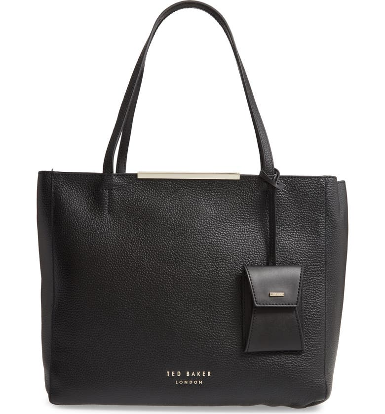 TED BAKER LONDON Dixiie Leather Shopper & Pouch, Main, color, BLACK