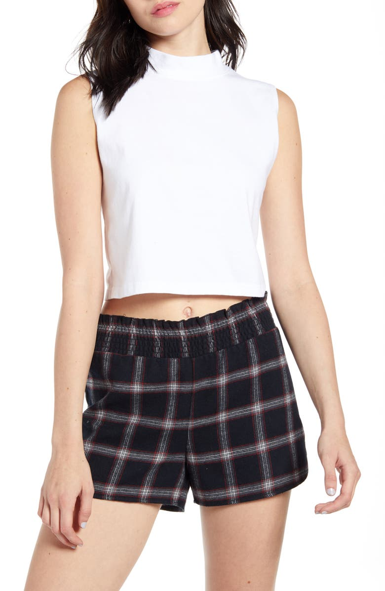 BP. x Claudia Sulewski Mock Neck Crop Top, Main, color, WHITE