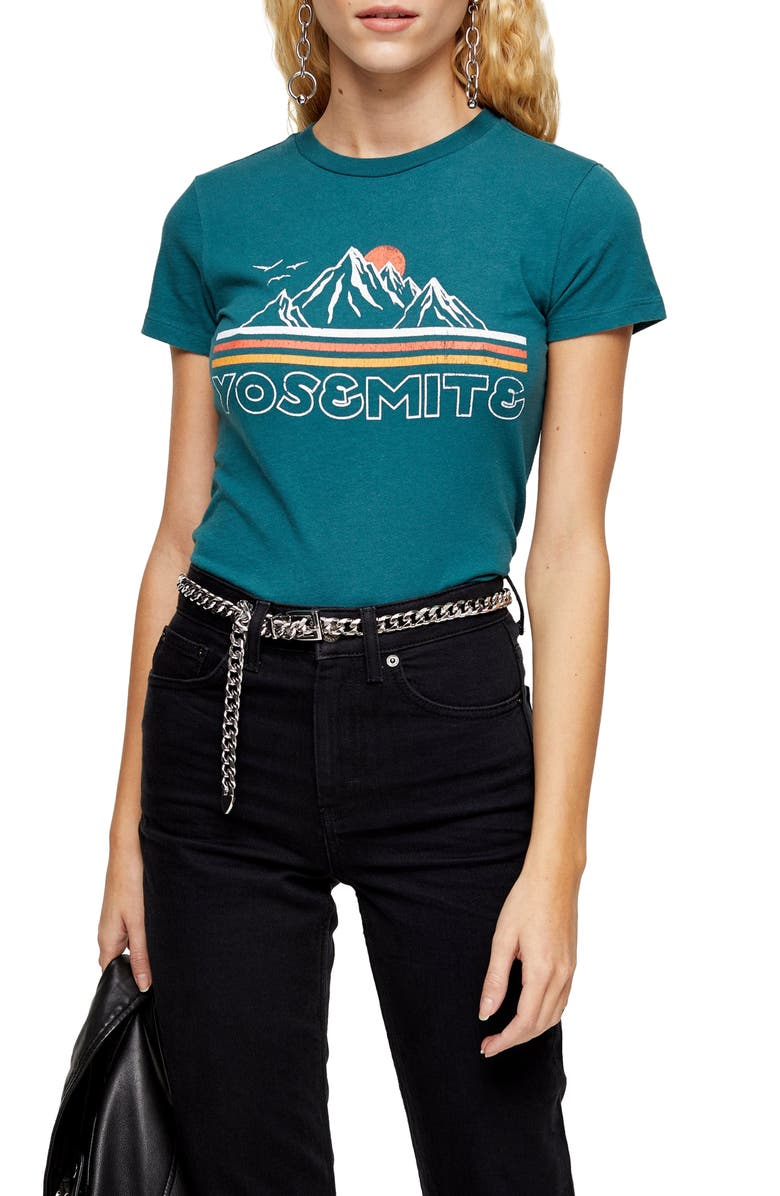 TOPSHOP Yosemite Landscape Graphic Tee, Main, color, BLUE/GREEN