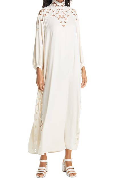 Rodebjer Dresses ANOUSKA EMBROIDERED CUTOUT LONG SLEEVE SHIFT DRESS