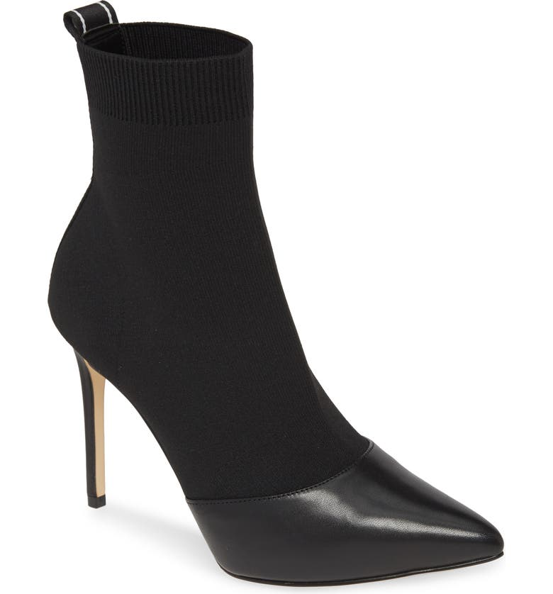 MICHAEL MICHAEL KORS Vicky Bootie, Main, color, BLACK FABRIC/ LEATHER