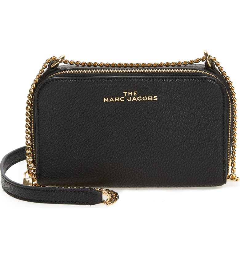 THE MARC JACOBS Leather Crossbody Bag, Main, color, BLACK