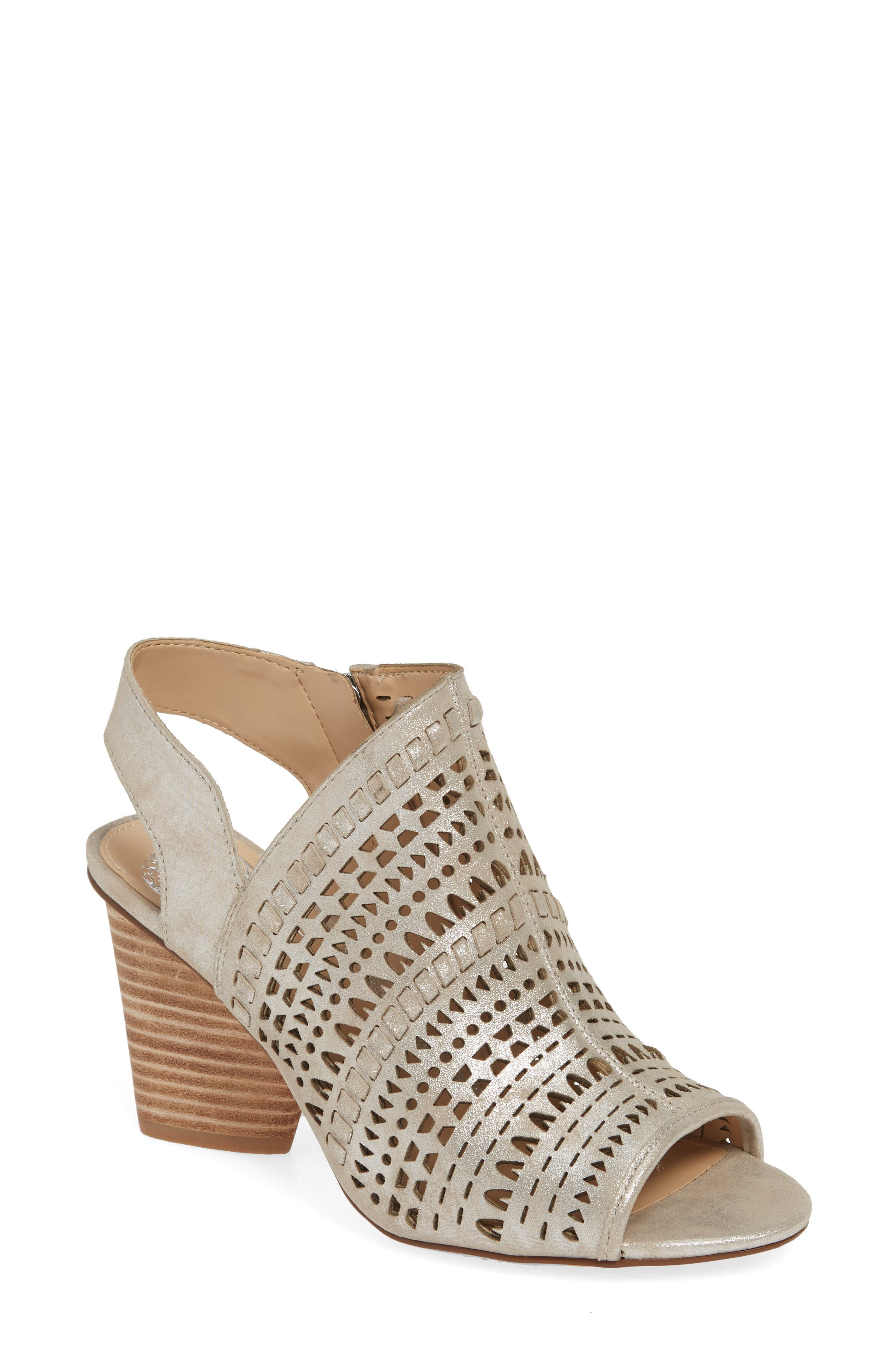 Vince Camuto Derechie Perforated Shield Sandal, Metallic