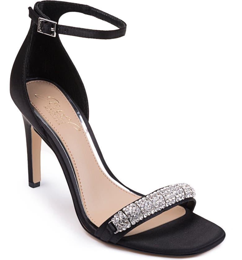 JEWEL BADGLEY MISCHKA Ranya Ankle Strap Sandal, Main, color, BLACK GLITTER