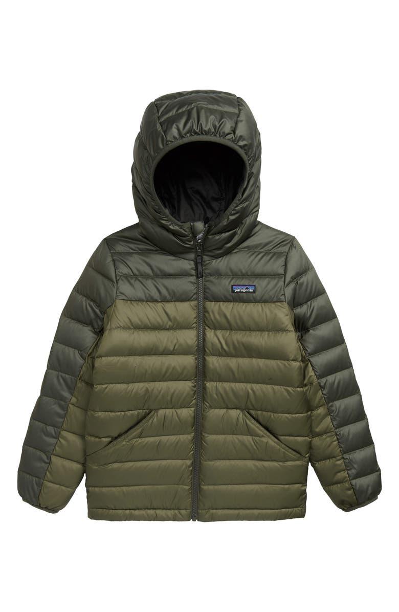 PATAGONIA Water Repellent Reversible Down Sweater Hoodie, Main, color, ALDER GREEN