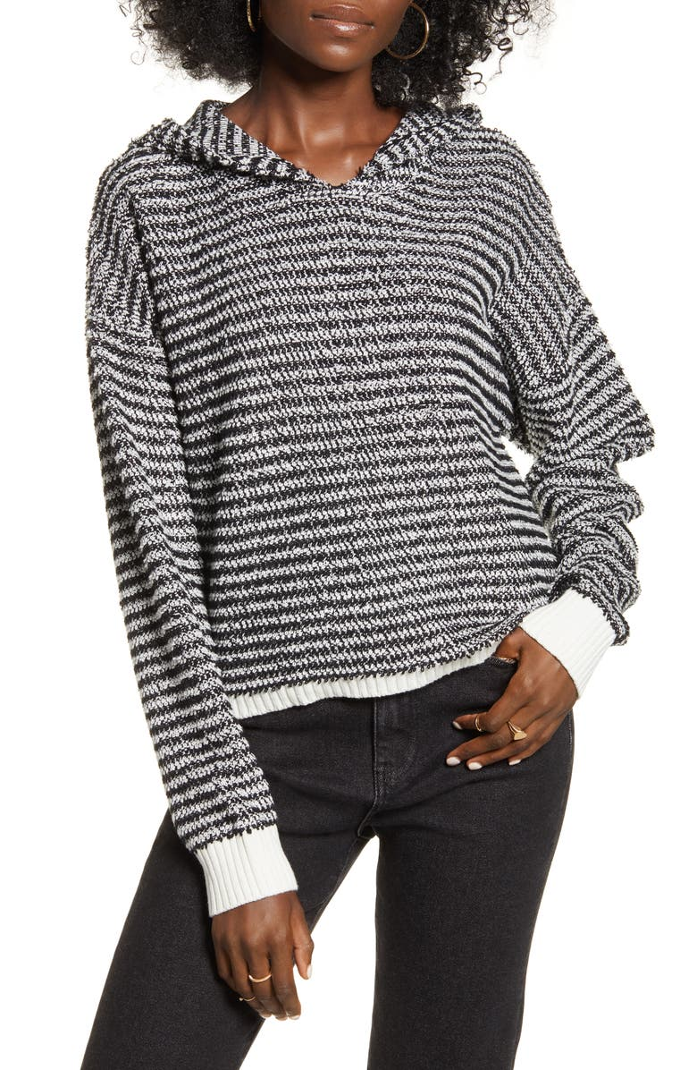 VOLCOM Broken Letters Hooded Sweater, Main, color, BLACK COMBO