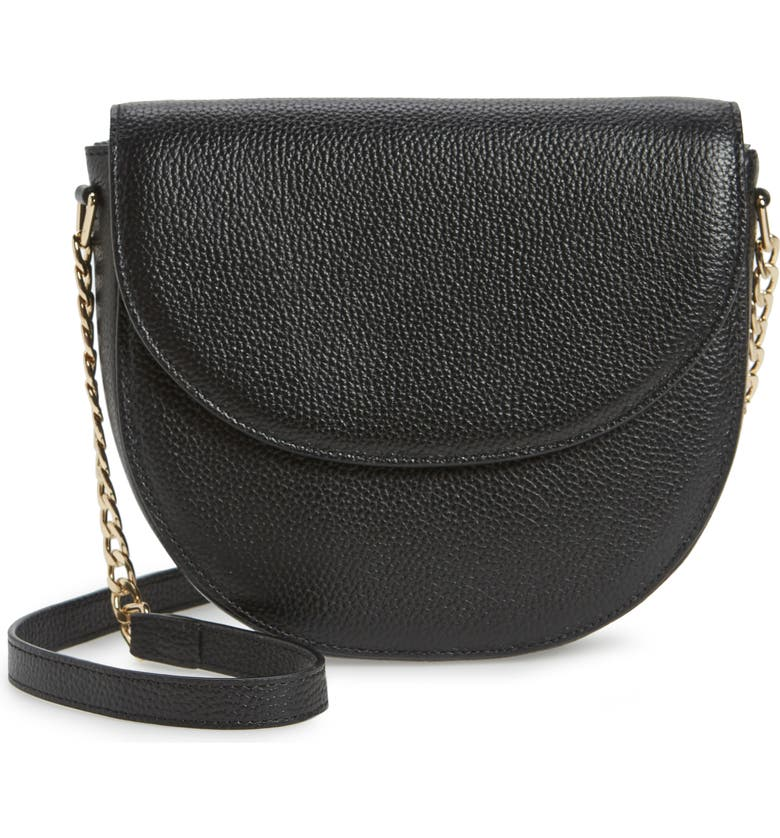NORDSTROM Ava Leather Flap Crossbody Bag, Main, color, BLACK