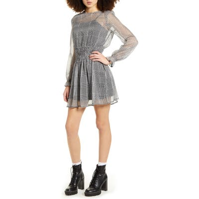 Lira Clothing Taliah Plaid Long Sleeve Dress, Black