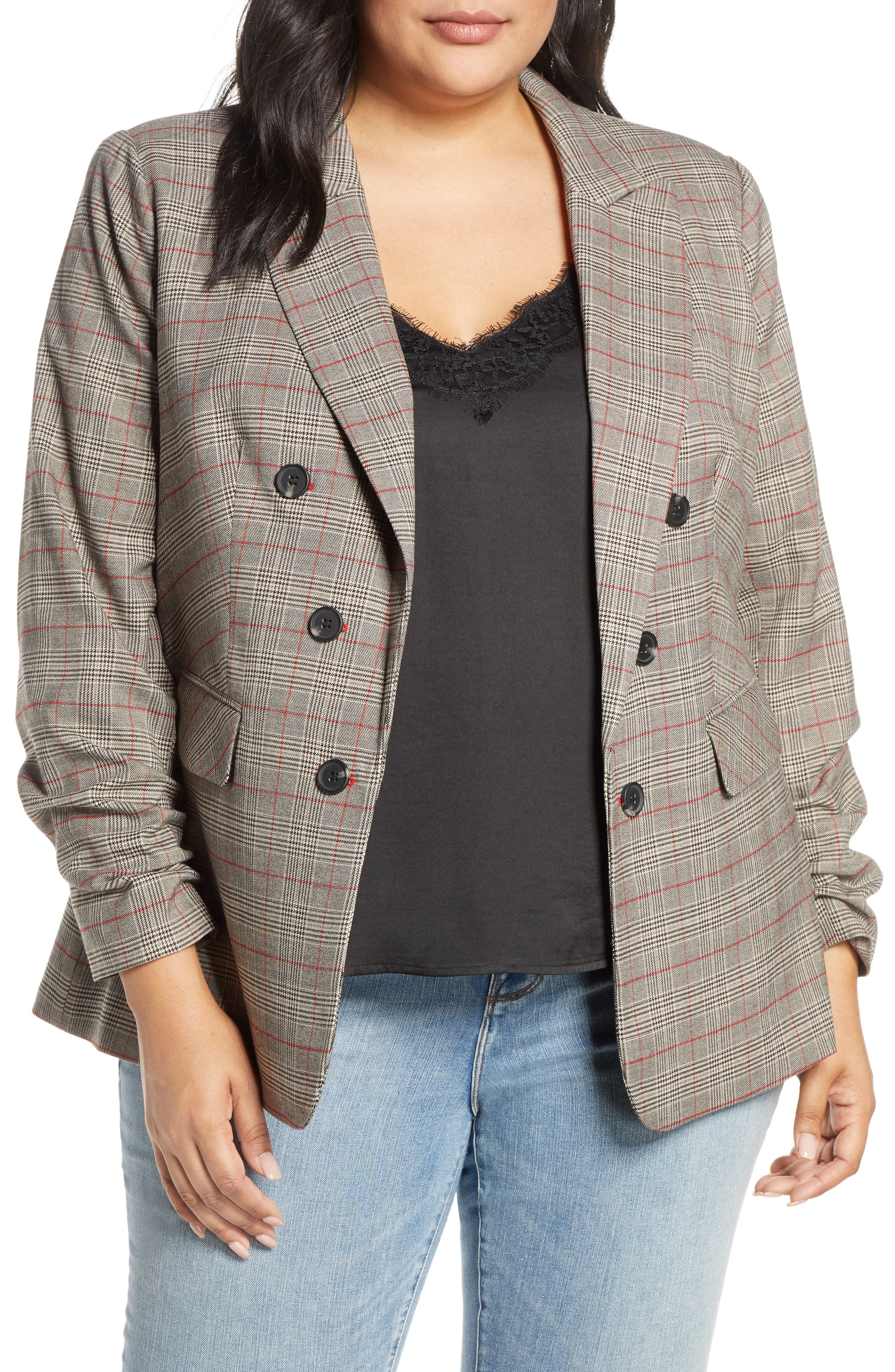 Image of 1.State Ruched Sleeve Plaid Blazer
