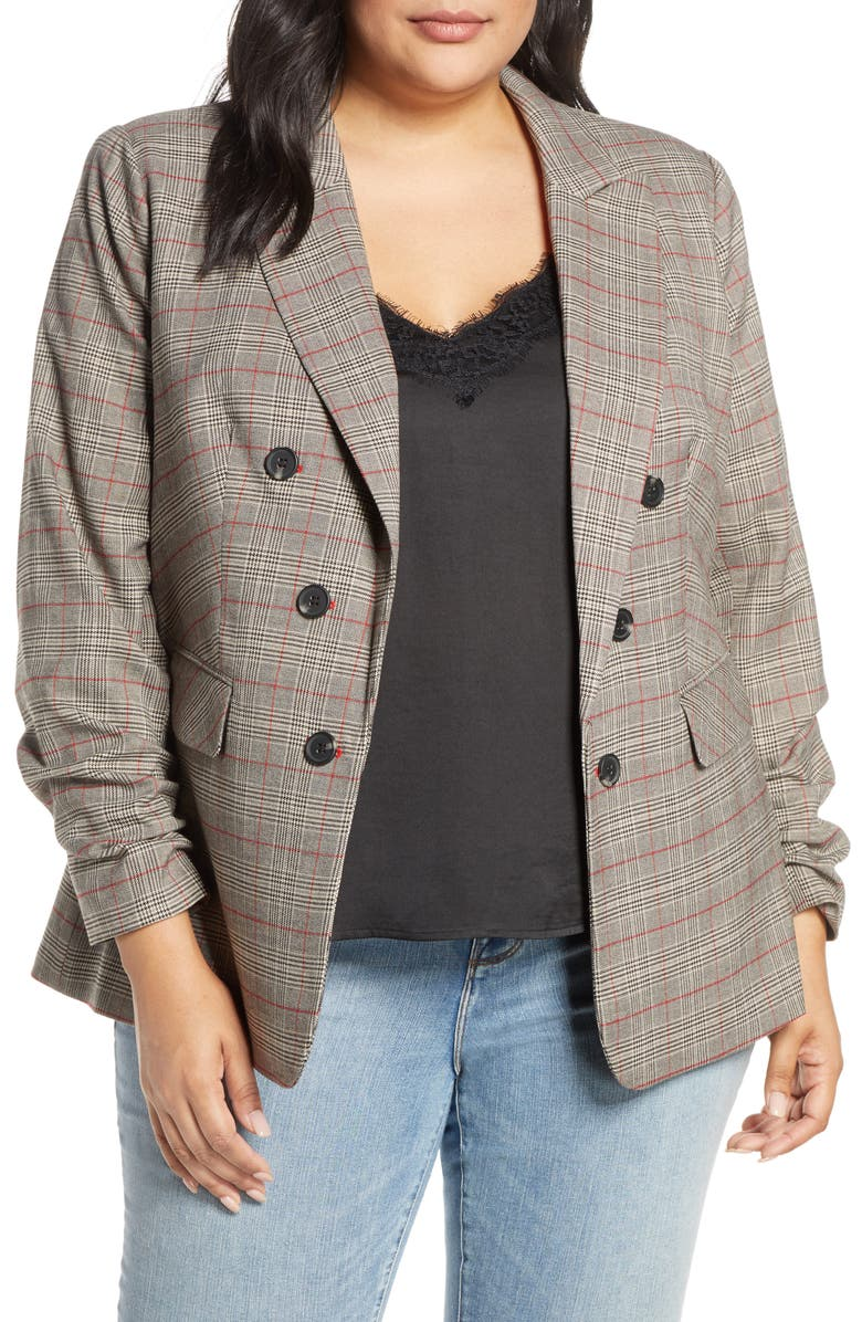 1.STATE Ruched Sleeve Plaid Blazer, Main, color, 001