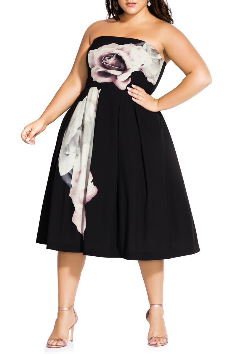 CITY CHIC Austin Floral Convertible Strap Dress, Main, color, AUSTIN FLORAL