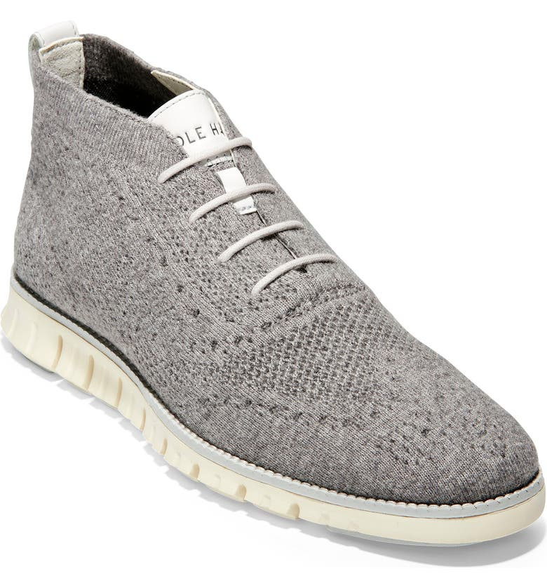 COLE HAAN ZeroGrand Stitchlite Knitted Wool Chukka Boot, Main, color, IVORY/ MAGNET WOOL KNIT/ IVORY