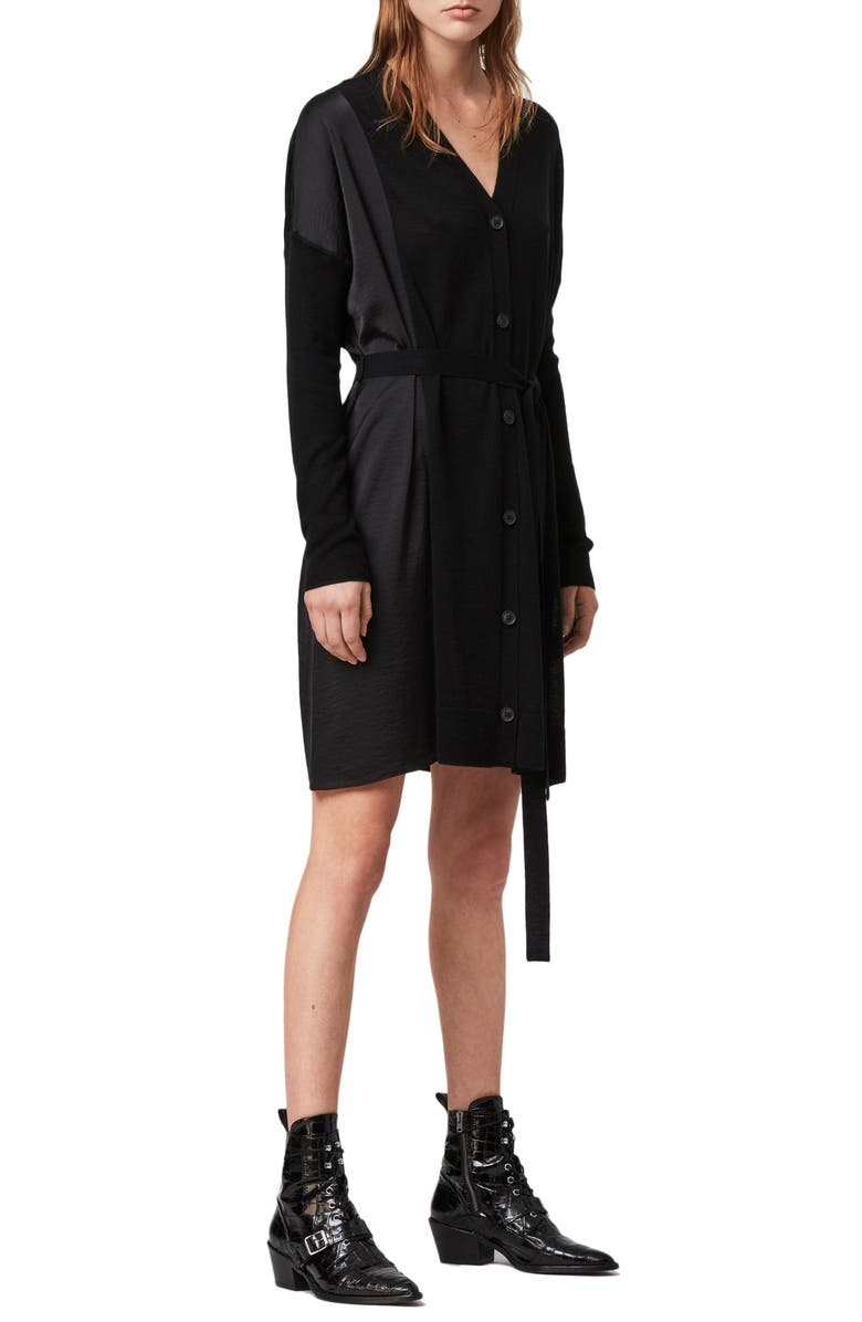 ALLSAINTS Iva Long Sleeve Button-Up Mixed Media Dress, Main, color, BLACK