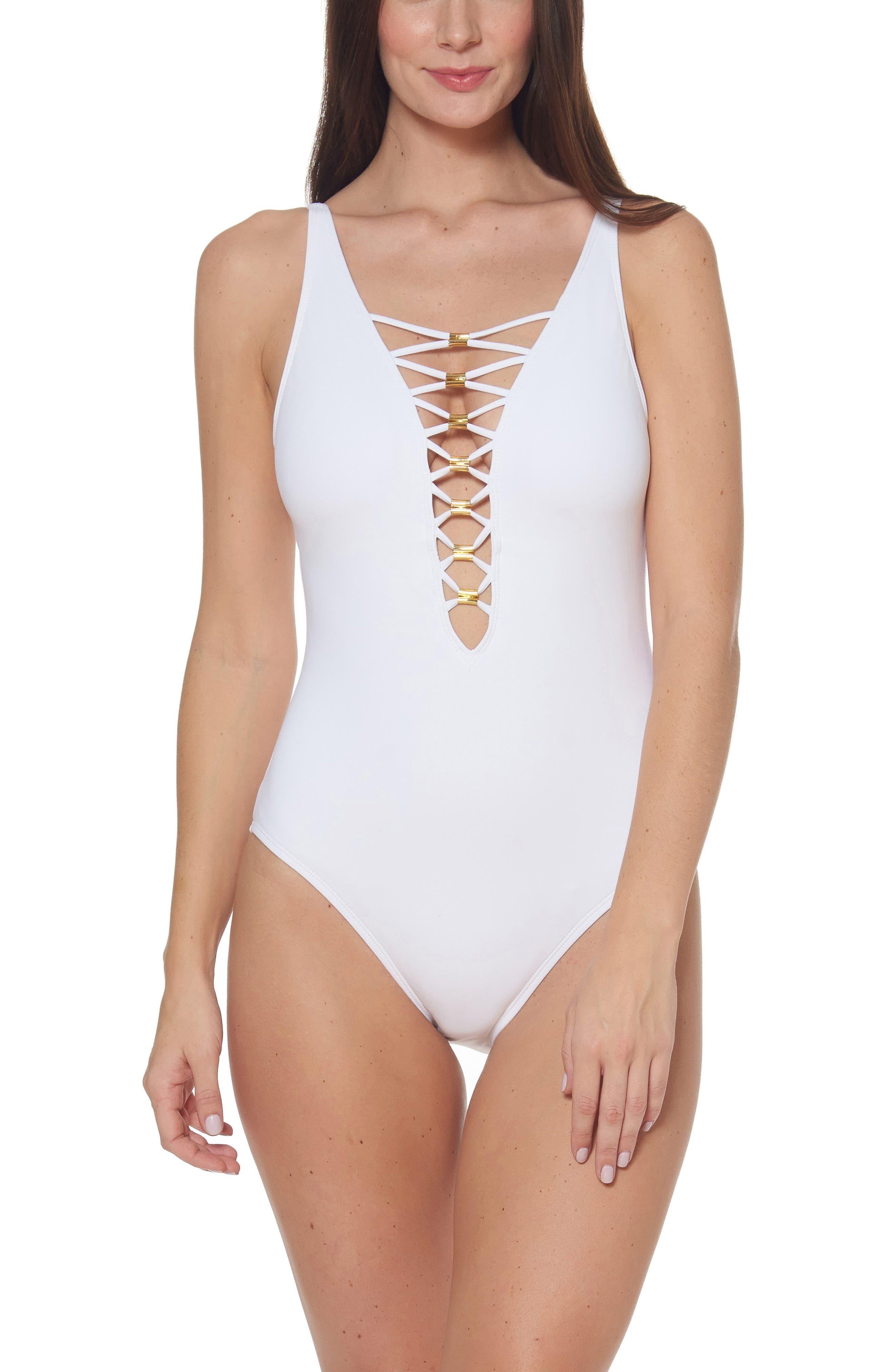 Bleu By Rod Beattie Lace Down One-Piece Swimsuit, White