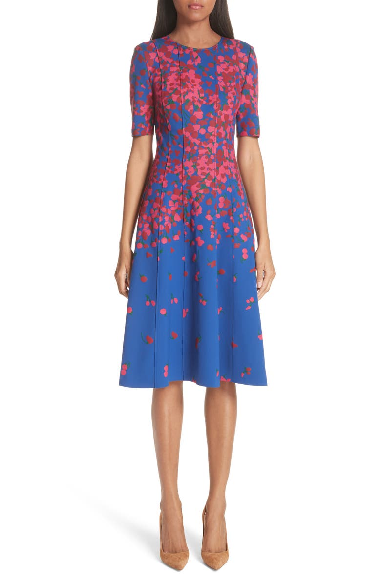 CAROLINA HERRERA Floral Print Neoprene Dress, Main, color, 400