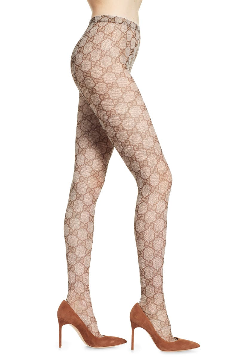 GUCCI Supreme Logo Tights, Main, color, BROWN