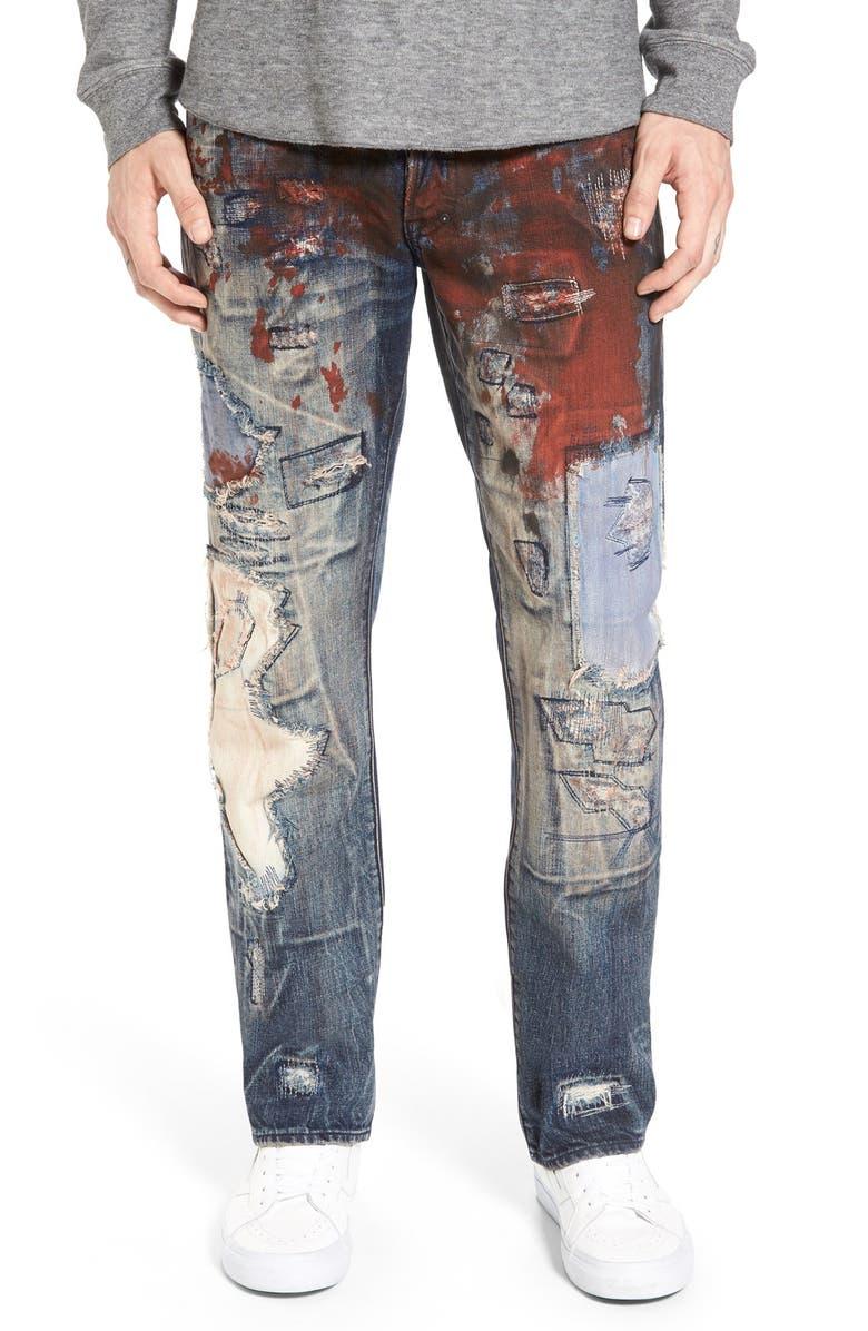 PRPS 'Barracuda' Destroyed Straight Leg Jeans, Main, color, INDIGO