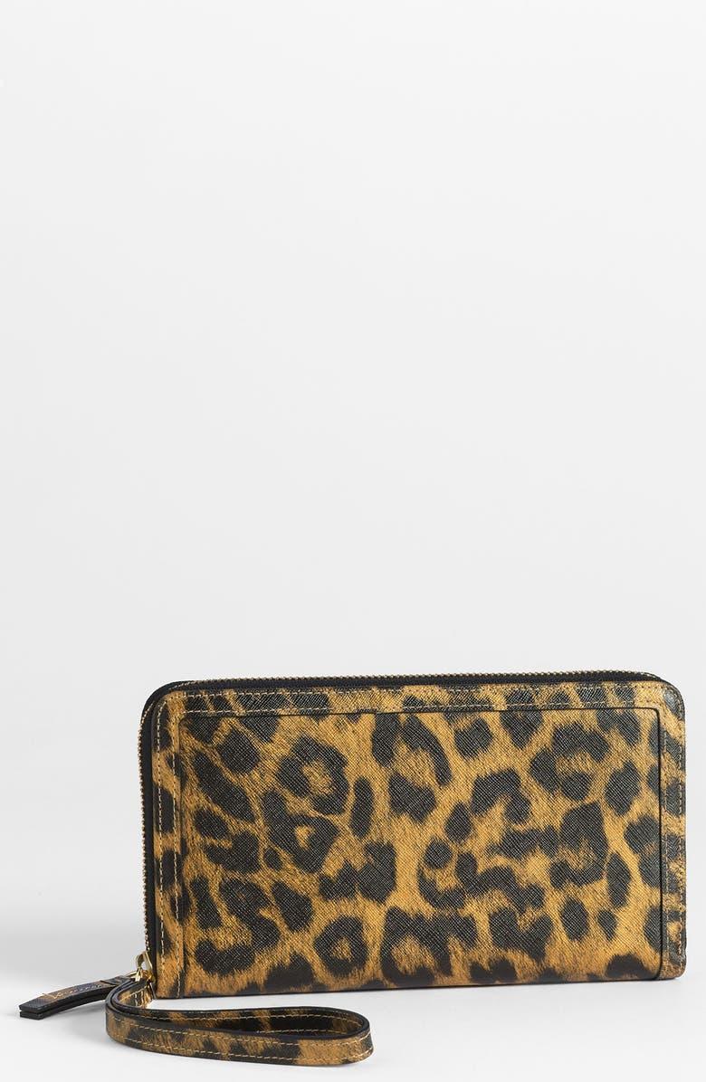 HALOGEN<SUP>®</SUP> Leopard Print Saffiano Leather Wallet, Main, color, 250