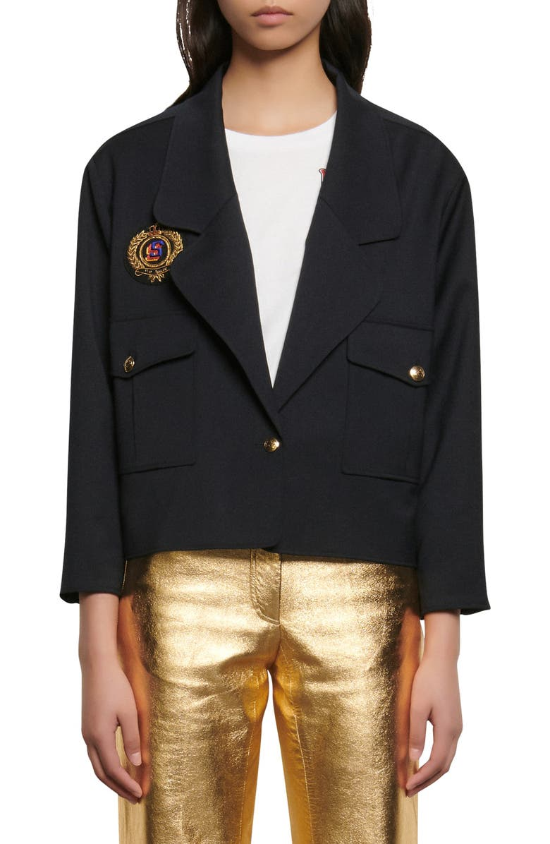 SANDRO Crest Blazer, Main, color, NAVY