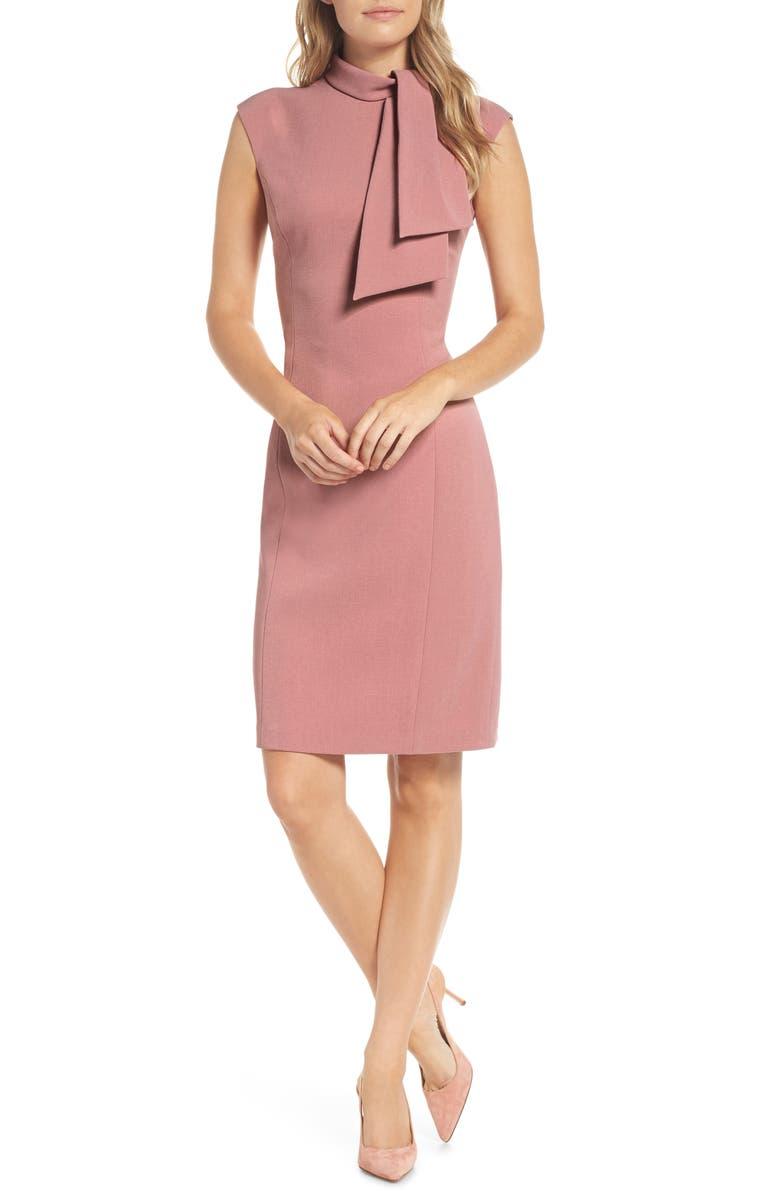 HARPER ROSE Tie Neck Sheath Dress, Main, color, BLUSH
