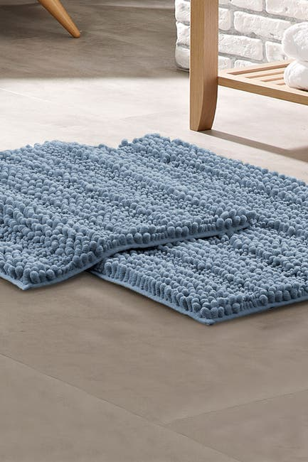 Image of Modern Threads Chenille Noodle Bath Mat 2-Piece Set - Blue
