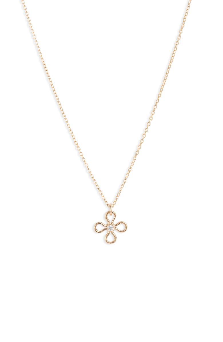 SET & STONES Gemma Flower Pendant Necklace, Main, color, GOLD