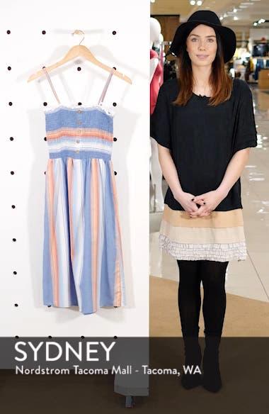 Smocked Bodice Stripe Midi Dress, sales video thumbnail