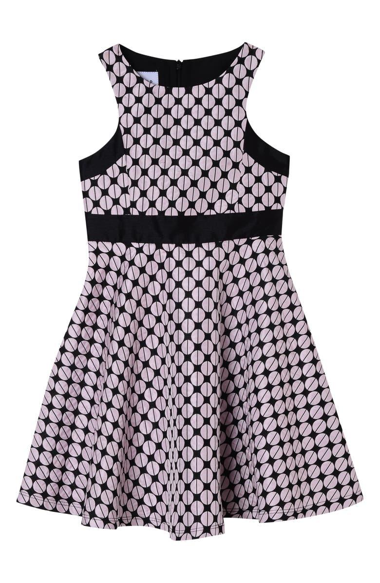 PIPPA & JULIE Dot Jacquard Skater Dress, Main, color, PINK/ BLACK