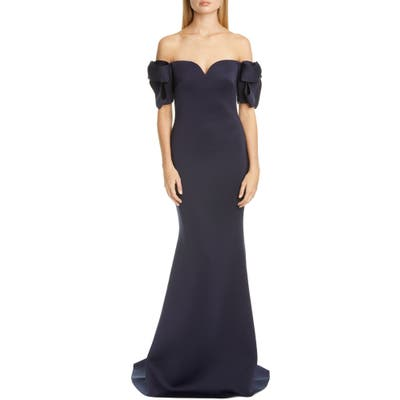Badgley Mischka Bow Sleeve Trumpet Gown, Blue