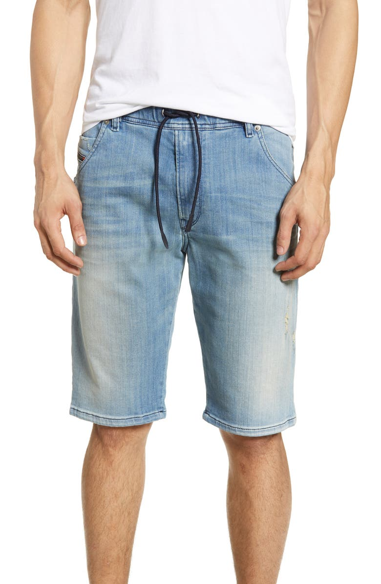 DIESEL<SUP>®</SUP> Krooshort Drawstring Denim Shorts, Main, color, 087AB