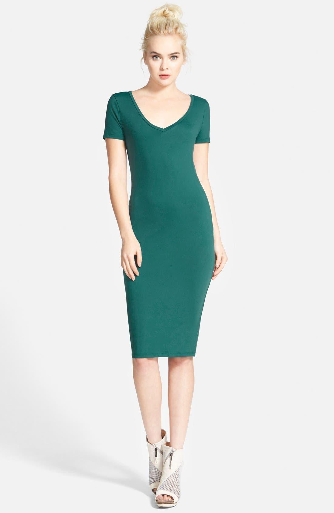 ,                             V-Neck Body-Con Dress,                             Main thumbnail 11, color,                             440