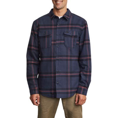 Rvca Yield Plaid Button-Up Flannel Shirt, Blue