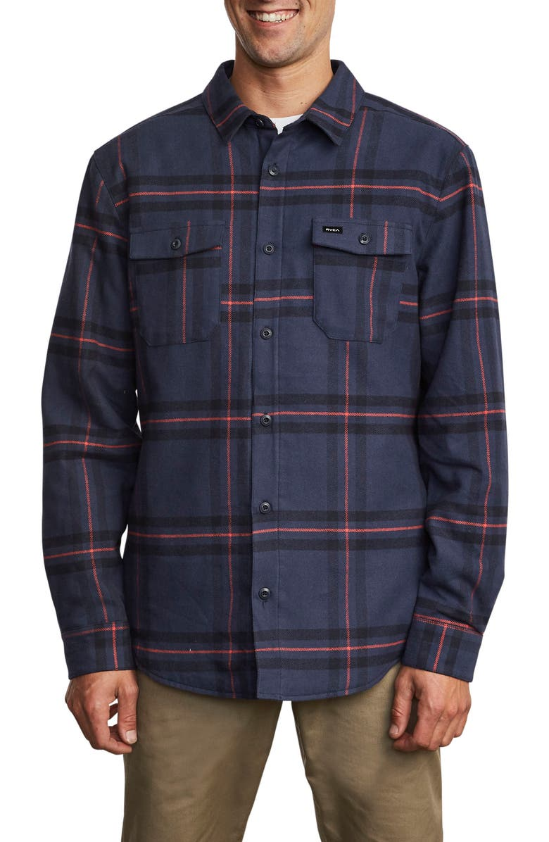 RVCA Yield Plaid Button-Up Flannel Shirt, Main, color, NAVY