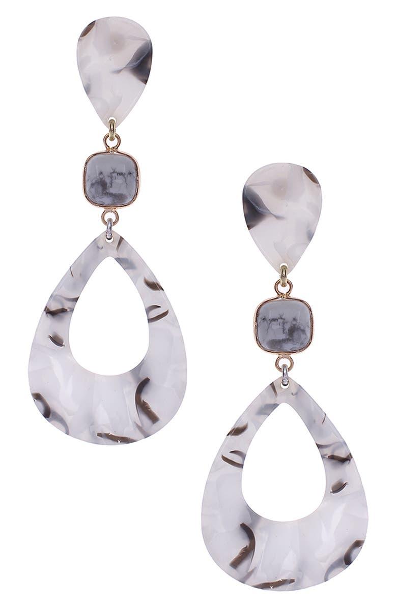 NAKAMOL CHICAGO Enamel Teardrop Earrings, Main, color, WHITE