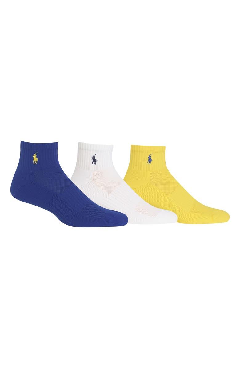 POLO RALPH LAUREN 3-Pack Tech Athletic Quarter Socks, Main, color, 435