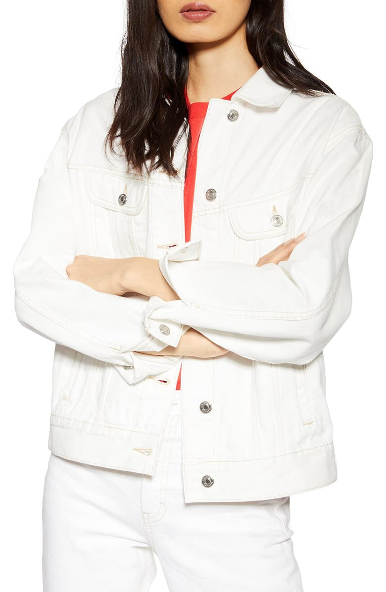TOPSHOP Oversize Denim Jacket, Main, color, WHITE