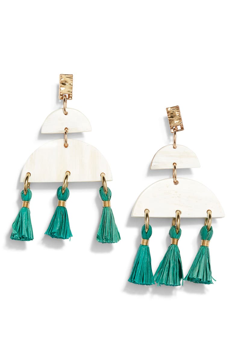 AKOLA Cheyenne Tassel Drop Earrings, Main, color, JADE
